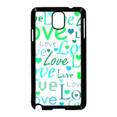 Love pattern - green and blue Samsung Galaxy Note 3 Neo Hardshell Case (Black)