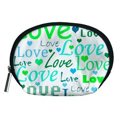Love pattern - green and blue Accessory Pouches (Medium)