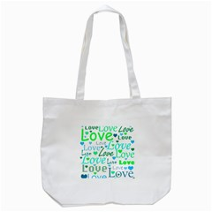 Love pattern - green and blue Tote Bag (White)