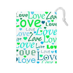 Love pattern - green and blue Drawstring Pouches (Large)