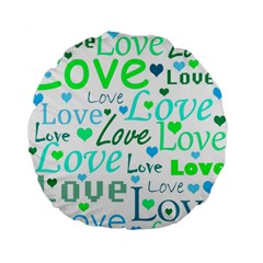 Love pattern - green and blue Standard 15  Premium Flano Round Cushions