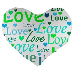 Love pattern - green and blue Large 19  Premium Flano Heart Shape Cushions