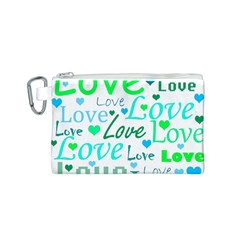 Love pattern - green and blue Canvas Cosmetic Bag (S)