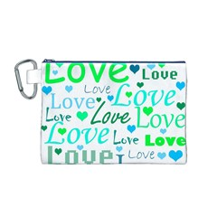 Love pattern - green and blue Canvas Cosmetic Bag (M)