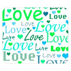 Love pattern - green and blue Double Sided Flano Blanket (Small)
