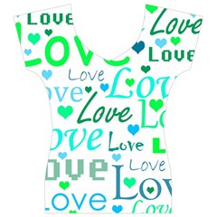 Love pattern - green and blue Women s V-Neck Cap Sleeve Top