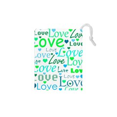 Love pattern - green and blue Drawstring Pouches (XS)
