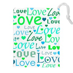 Love pattern - green and blue Drawstring Pouches (XXL)