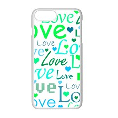 Love Pattern   Green And Blue Apple Iphone 7 Plus White Seamless Case