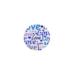 Blue and purple love pattern 1  Mini Buttons
