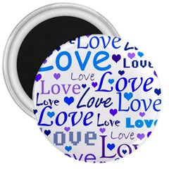 Blue and purple love pattern 3  Magnets