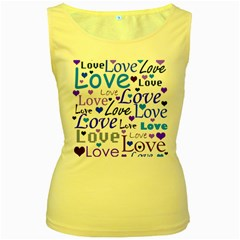 Blue and purple love pattern Women s Yellow Tank Top