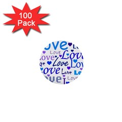 Blue and purple love pattern 1  Mini Buttons (100 pack)