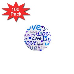 Blue and purple love pattern 1  Mini Magnets (100 pack)