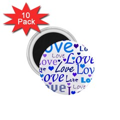 Blue and purple love pattern 1.75  Magnets (10 pack)