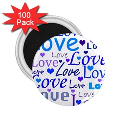 Blue and purple love pattern 2.25  Magnets (100 pack)