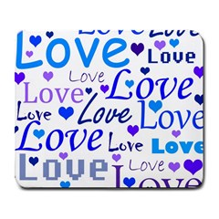 Blue and purple love pattern Large Mousepads