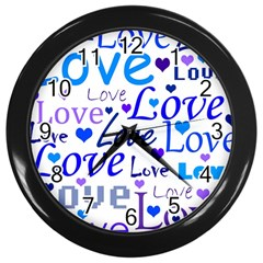 Blue and purple love pattern Wall Clocks (Black)
