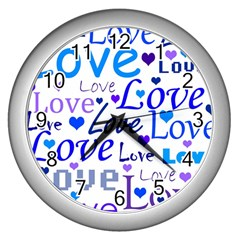 Blue and purple love pattern Wall Clocks (Silver)