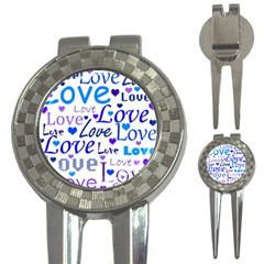 Blue and purple love pattern 3-in-1 Golf Divots