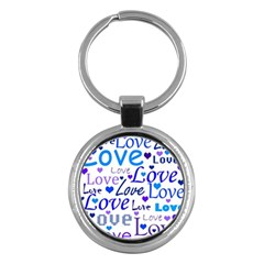 Blue and purple love pattern Key Chains (Round)