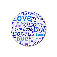 Blue and purple love pattern Rubber Coaster (Round)