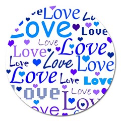 Blue and purple love pattern Magnet 5  (Round)
