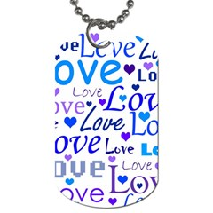 Blue and purple love pattern Dog Tag (Two Sides)