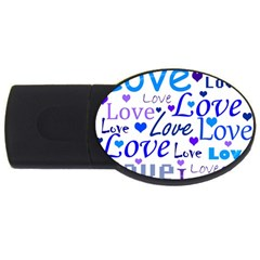 Blue and purple love pattern USB Flash Drive Oval (1 GB)