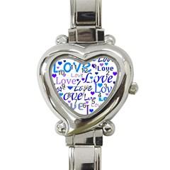Blue and purple love pattern Heart Italian Charm Watch