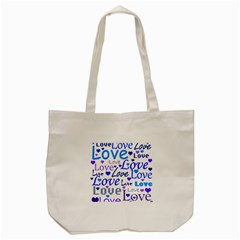 Blue and purple love pattern Tote Bag (Cream)