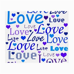 Blue and purple love pattern Small Glasses Cloth