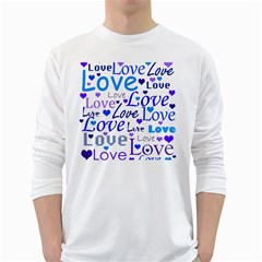 Blue and purple love pattern White Long Sleeve T-Shirts