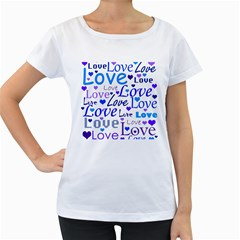 Blue and purple love pattern Women s Loose-Fit T-Shirt (White)