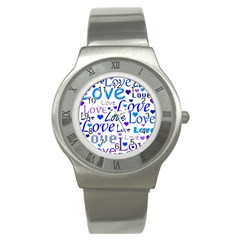 Blue and purple love pattern Stainless Steel Watch