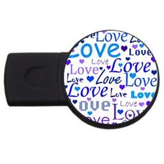 Blue and purple love pattern USB Flash Drive Round (4 GB)