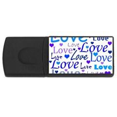 Blue and purple love pattern USB Flash Drive Rectangular (4 GB)