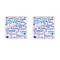 Blue and purple love pattern Cufflinks (Square)