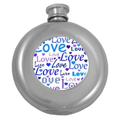 Blue and purple love pattern Round Hip Flask (5 oz)