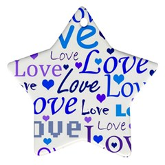 Blue and purple love pattern Star Ornament (Two Sides)