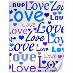 Blue and purple love pattern Canvas 12  x 16