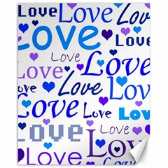 Blue and purple love pattern Canvas 16  x 20