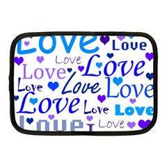 Blue and purple love pattern Netbook Case (Medium)