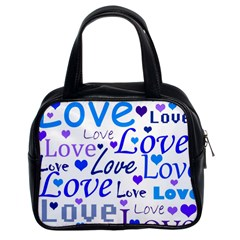 Blue and purple love pattern Classic Handbags (2 Sides)