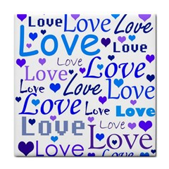 Blue and purple love pattern Face Towel