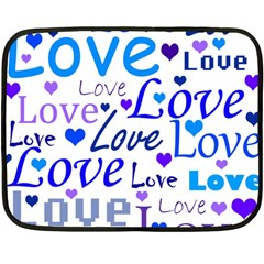 Blue and purple love pattern Fleece Blanket (Mini)
