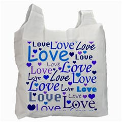 Blue and purple love pattern Recycle Bag (One Side)