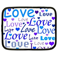 Blue and purple love pattern Netbook Case (XL)