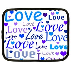 Blue and purple love pattern Netbook Case (XXL)
