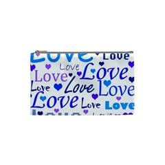Blue And Purple Love Pattern Cosmetic Bag (small)